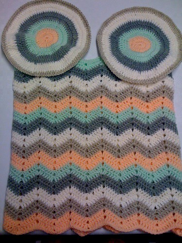 Okay, two crocheted bases inner and outer. A rectangle of ripple edges sewn together to make a 'tubey' I call it.