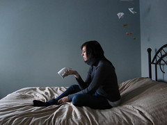 Your late for tea (Videavon) Tags: cup coffee gold grey sweater bed origami tea