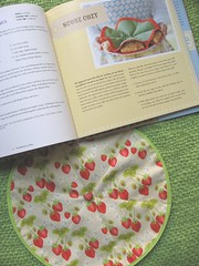 scone cozy and book (Pinks & Needles (used to be Gigi & Big Red)) Tags: friends party cozy strawberry melanie fabric scone michaelmiller sewingparty sandihenderson aboveallfabric