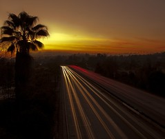 light speed (Andy Kennelly) Tags: california road street light sunset tree cars silhouette night point photography lights los highway shot bend angeles palm freeway after hours streams pasadena curve vanishing