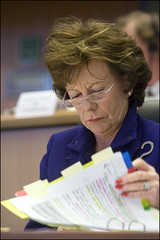 Neelie Kroes contemplating her answers during the hearing