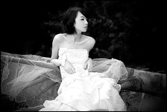 Second Thoughts (The Dream Seeker.) Tags: wedding blackandwhite woman white black cute girl contrast dark photo pretty day dress image picture pic korean shade tone