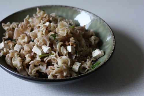 Pasta with Walnuts, Caramelized Onions, and Ricotta Salata