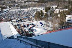 Ski Jumping 2010 (Michigan Nature Photog) Tags: sky white snow jump jumping skiing michigan hill bluesky upperpeninsula skijumping skiis skiflying