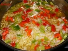 Fideos con almejas-añadir verdura.
