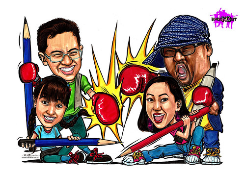 Caricatures of Sheikh Haikel Annabelle Francis Nigel Chew Jermaine Leong on Knockout A4