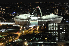 Moses Mabhida By Night (Chris Bloom) Tags: city building night buildings lights football cityscape arch stadium fifa ground pitch worldcup 2010 weststreet durban kwazulunatal oldmutual mosesmabhida