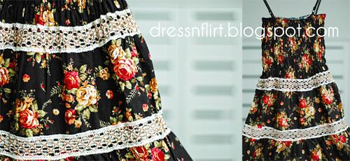 flower  dress black collage