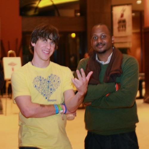 Dennis Crowley (FourSquare) and Wayne Sutton (TriOut)