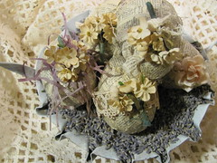 i put all my eggs in one basket~and gave the basket to God (Tin Rabbit) Tags: flower metal vintage paper easter lace antique egg lavender romantic flowerpot mache millinery