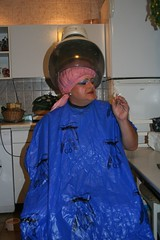 Wilma goes for a perm (wilma_christina) Tags: smoking perm plasticcape permcap