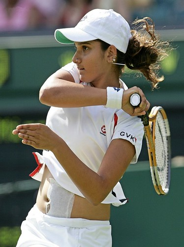 Sania Mirza in action at a Tennis Tournament