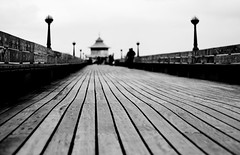 Promenade (*Hairbear) Tags: blackandwhite pier wooden dof cloudy somerset planks leading clevedon