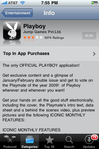 Playboy app in Apple App Store (Entertainment category) - not downloadable because of selected parental controls / restrictions