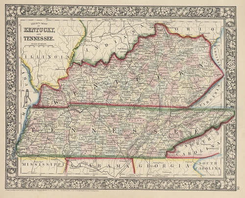 map of kentucky and tennessee. Map of Kentucky and Tennessee