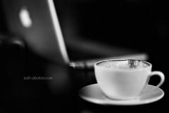 Early Morning Editing (Josh Deaton | www.josh-deaton.com) Tags: morning bw white black film apple cup coffee canon early mark grain 85mm plate ii l 5d espresso latte edit f12 12l macbook 85l f12l 85lii