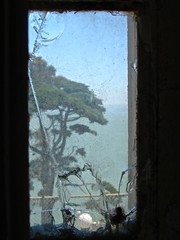 alcatraz inside out...... (ana_lee_smith) Tags: ocean sanfrancisco california travel blue sky lighthouse tree green broken window water glass yellow ferry clouds sailboat island photography freedom bay sailing tour escape view photos seagull seat steps perspective cell tourist prison perch sail alcatraz cypress therock bleachers solitary audio cracked attraction 1946 jailhouse confinement federalprison guardtower nationalhistoricsite exerciseyard federalpenitentiary analeesmith 19331963 islandofpelicans alcatrazpictures thebattleofalcatraz
