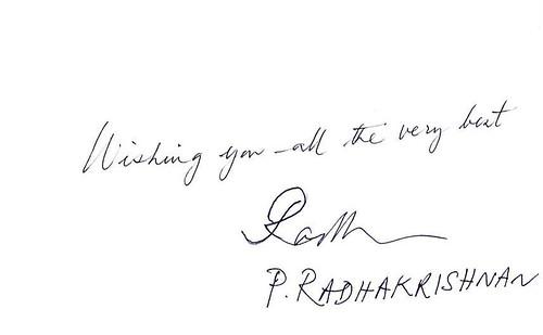 RADHAKRISHNAN P (Autographe sur Bristol 1) - Copie