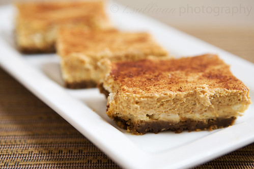 Pumpkin Cheesecake Bars with Gingersnap Crust