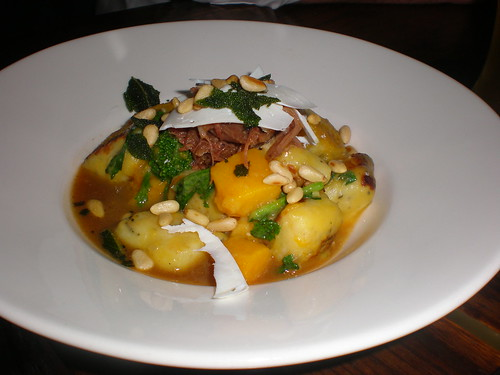 Duck confit gnocchi with pressed ricotta
