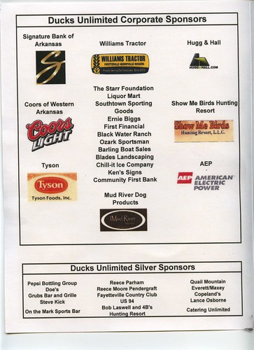 Ducks Unlimited banquet sponsors for October 29, 2009 09