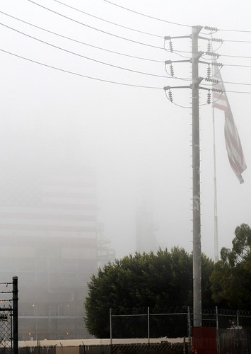fog and two flags