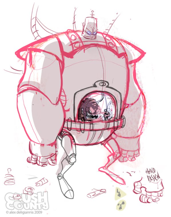 "Big Toon's ""KRANG's Android Body"" - Roughs (( 2009 )) [[ the work of Alex ""Toon"" Deligiannis ]]"