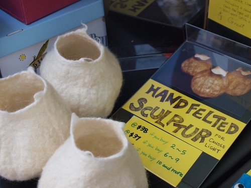 felted candle holders