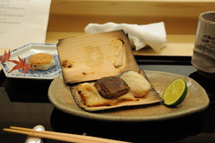 Miso-marinated sawara (spotted mackerel) wrapped in cedar, japanese taro, miso. Kikunoi, Kyoto