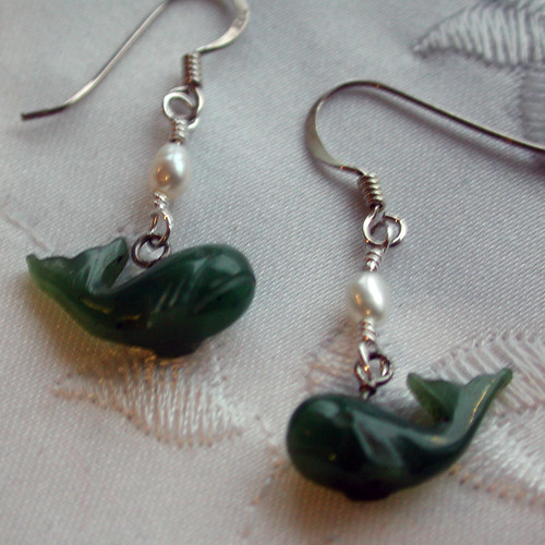 Jade Whale earrings