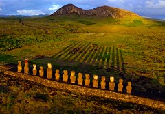 Tongariki, Easter Island seen from a Kite at sunrise. (Pierre Lesage) Tags: fromabove southpacific kap heidy kiteaerialphotography rapanui isladepascua moais tongariki autokap iledepaques pierrelesage danleighdeltar8 seenonflickr easterisand ricohgx200 ranorarako kapstock