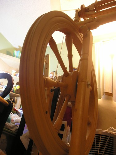 The spinning wheel waits
