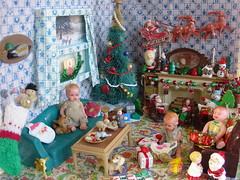 What to my wondering eyes should appear (raining rita) Tags: christmas decorations dog tree window vintage mouse snowman dolls village deer presents santaclaus stocking sled nativity dollhouse aplascotoy