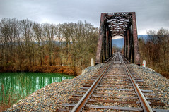 Green Lagoon (gatorinsc) Tags: trestle bridge green train alabama tracks explore frontpage hdr woodville photomatix