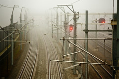 Fog train (Vincent van Es) Tags: light netherlands fog train photography barendrecht tamron175028 canon40d