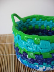 Coiled blue & green basket (Arbel Egger) Tags: blue green basket recycle weaving plasticbags reuse coiling banthebag goodbag