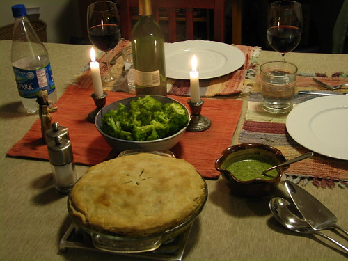 samosa pie with mint sauce and broccoli