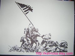 iwojima (Large) (Kelmosa) Tags: blackandwhite art silhouette america soldier army war pacific drawing flag marker celebrities marines sharpie iwojima