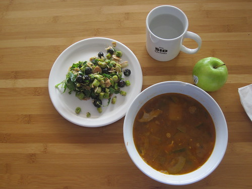 Mexican soup, asparagus and almond salad, apple - $6 from the bistro