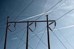 (J-Bones) Tags: blue sky white geometric lines delete10 delete9 deleted7 deleted6 deleted3 deleted2 deleted4 delete3 wires deleted5 deleted poles electrical contrails deleted8 20100220936401