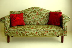 Green Floral Chippendale Sofa