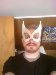 Trying on Comfort's Superhero mask.