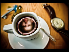 Coffee time again (r.miska) Tags: lighting party up self mirror nikon key nap close flash watch creative sigma days 365 coffe speedlight sb strobe d60 miska 14mm 365days strobist 3652010 2010365 rmiska