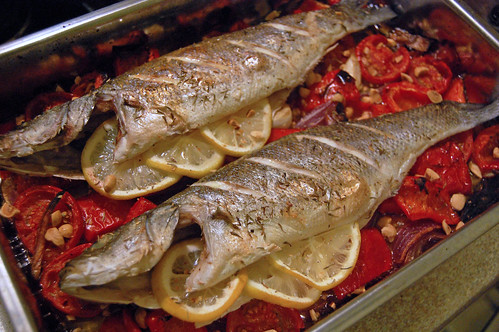 Baked Sea Bass with Roasted Vegetables