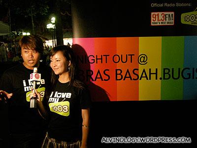 Hosts for the night - Radio 100.3 DJs, Jianwen and Kemin