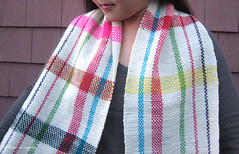 HereNThere Scarf - Full (MisoCraftyKnits) Tags: scarf rainbow stripes merino ashford weaving rivulette herenthere