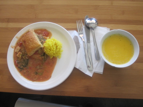Tofu and veggie puff, rice, carrot soup from the bistro - $6