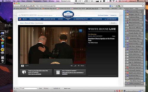 Obama's live speech on #HCR