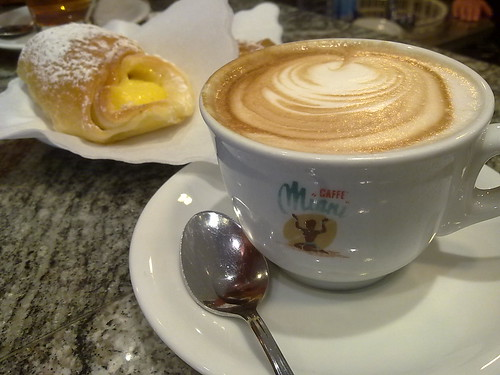 Cream Pastry and Cappucino