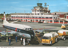 Old Postcard - Jersey Airport (Spottedlaurel) Tags: bedford airport bea shell jersey 1960s bp tanker tk vickers viscount britishunited